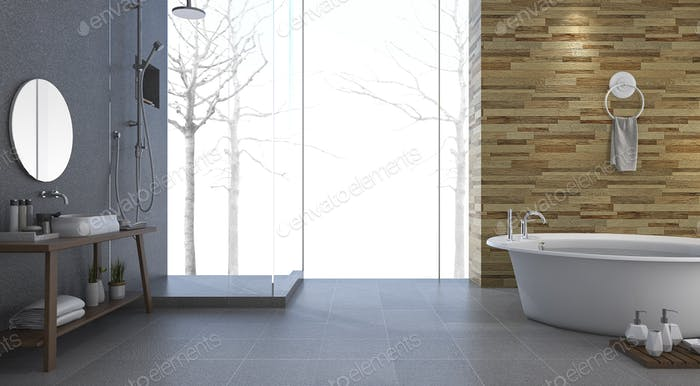 3d rendering contemporary and loft style bathroom with nice winter view