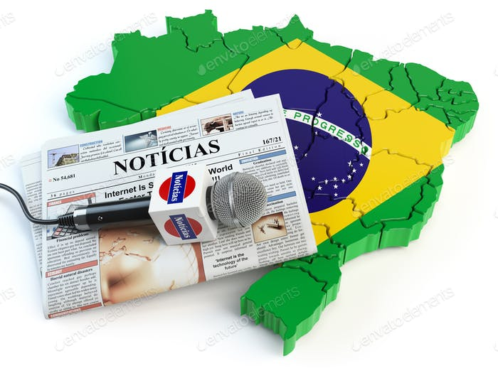 Brazilian news, press and  journalism concept. Microphone and ne