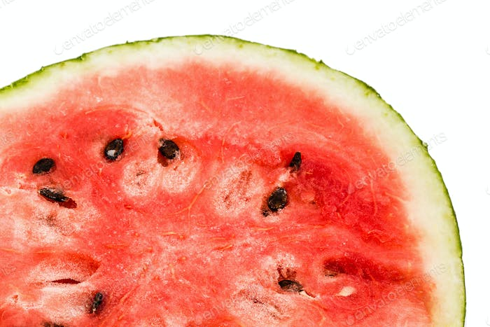 Ripe sliced watermelon, isolated on white background