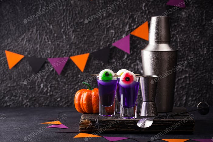 Halloween purple cocktail with eyes
