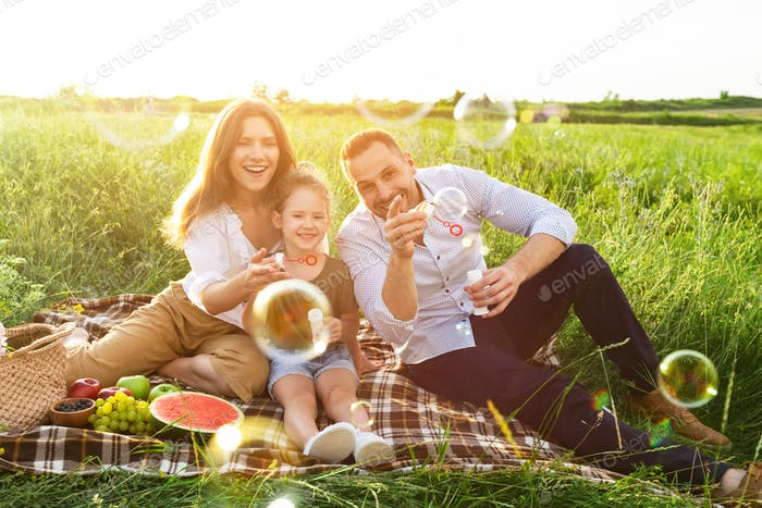 Lovely family playing together on a picnic in meadow
