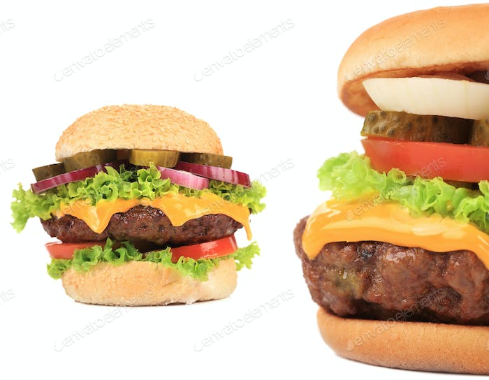 Two tasty cheeseburgers.