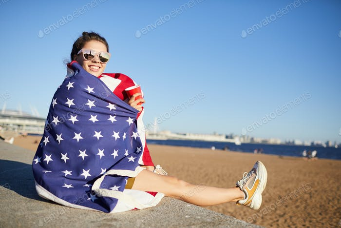 Celebrating fourth of july on beach