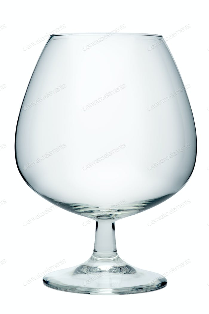 Empty cognac glass, isolated on a white background