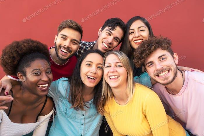 Group multiracial people having fun outdoor