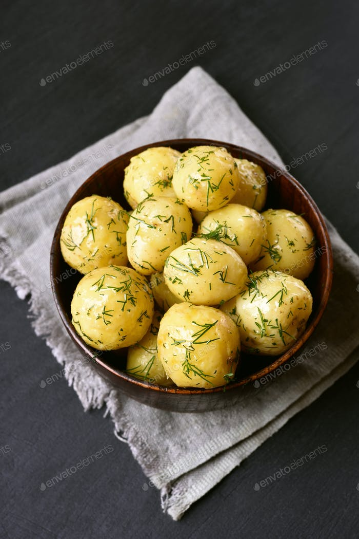 Cooked potatoes with dill