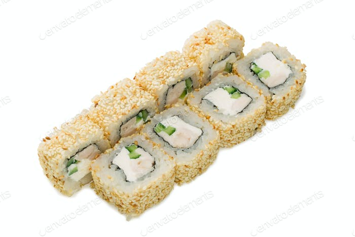 Asian cuisine. Japanese cuisine. Sushi rolls on a white background