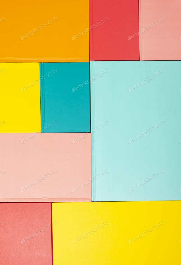 Background with empty colored book covers