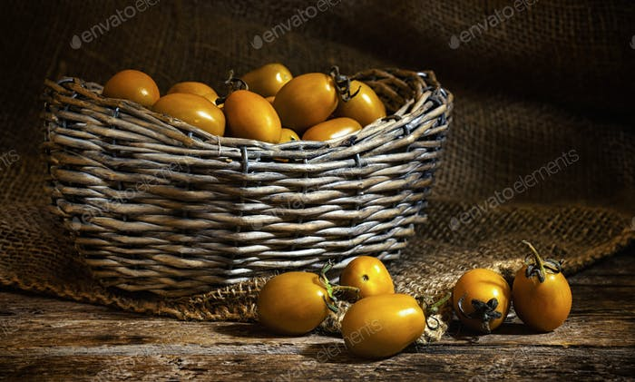 Yellow datterin cherry tomatoes.