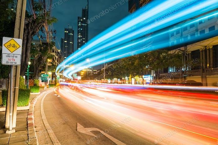Bangkok Stadtbild der Lichtwege
