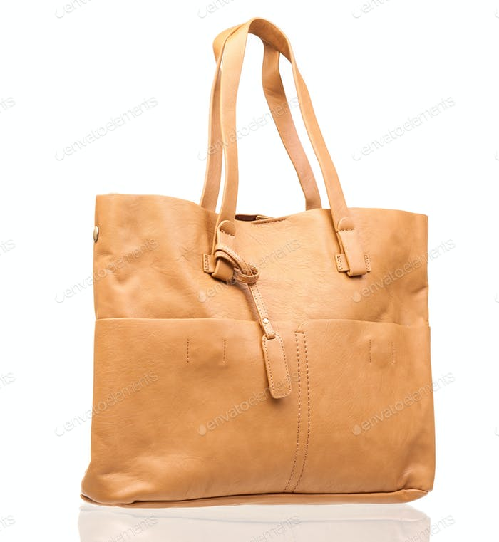 Leather women bag isolated over white