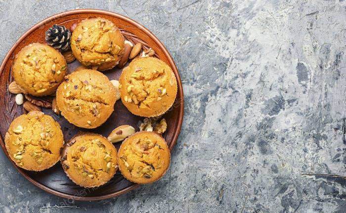 Homemade delicious pumpkin muffin
