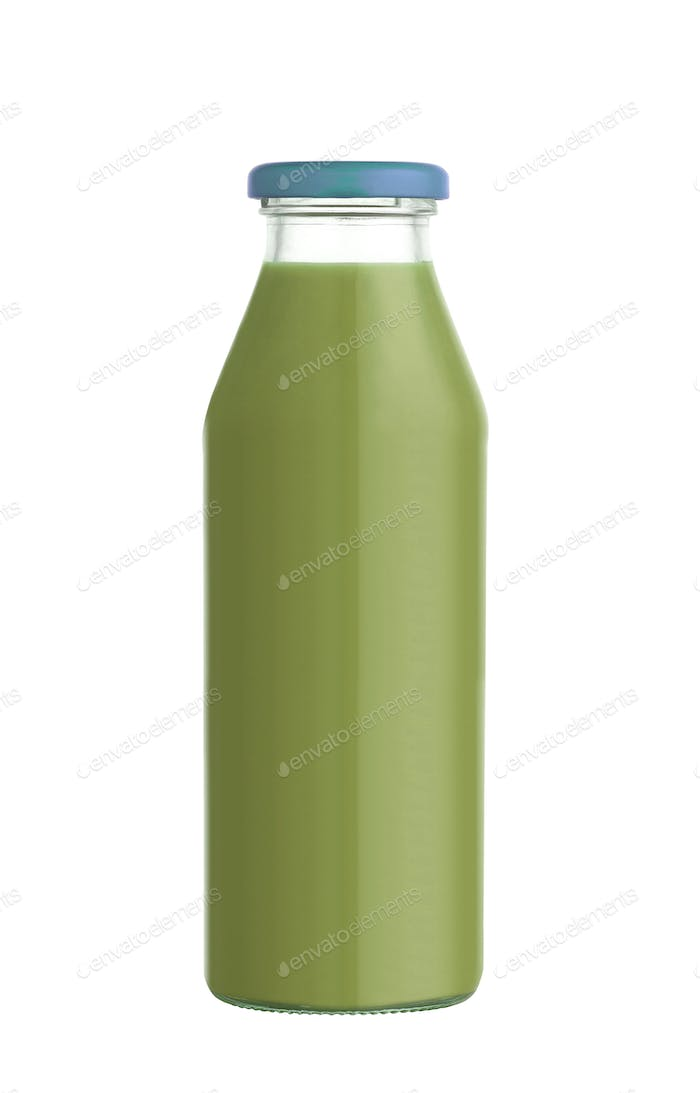 Juice in a glass bottle isolated on white background