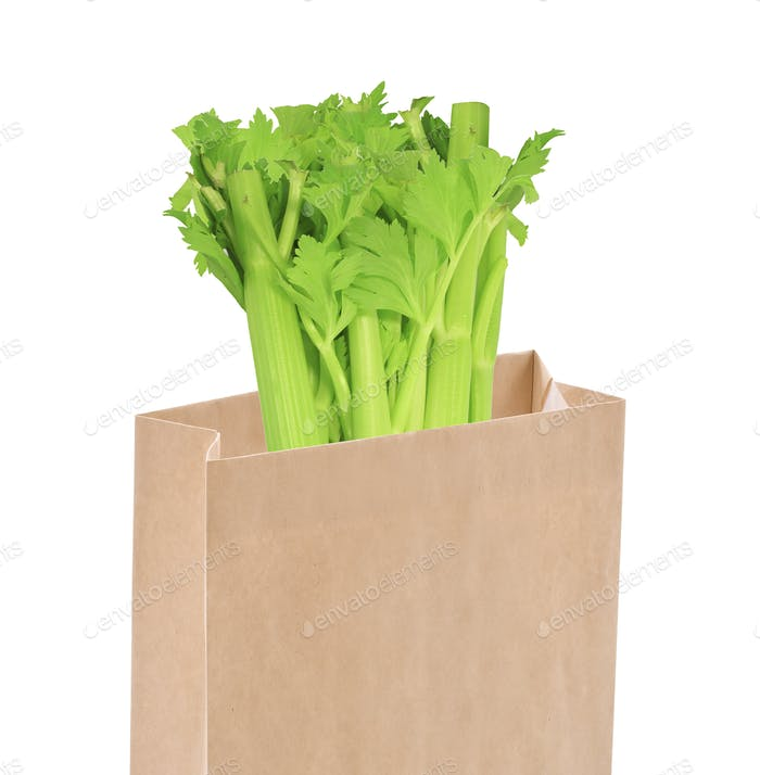 Whole celery in a bag isolated