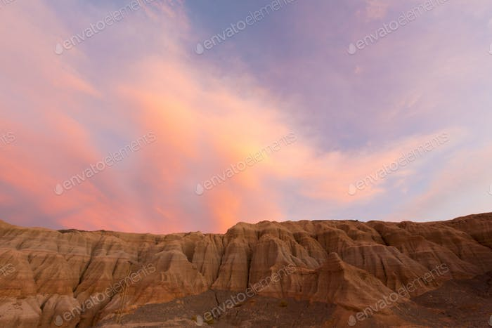 Colored sunset in Rodeo and geological rock formation, Argentina