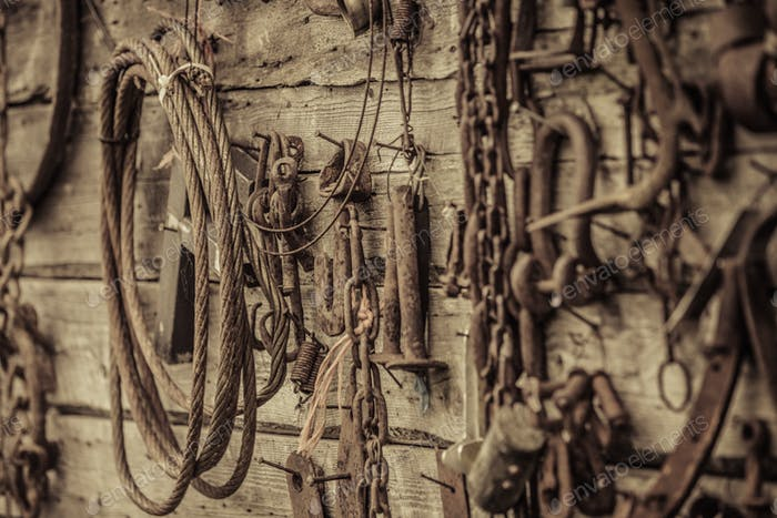 Wall Filled with Old Tools Hanging on the wall