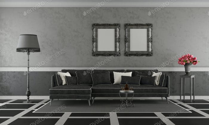Black and white classic living room