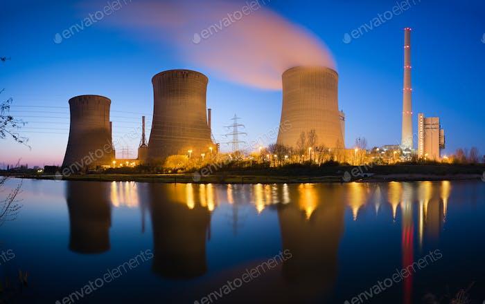 Power Plant At River Panorama At Night