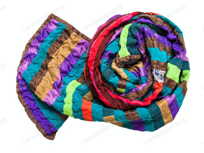 rolled stitched patchwork scarf isolated