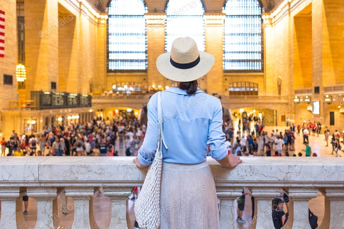 Young girl in the Grand Central terminal, NYC