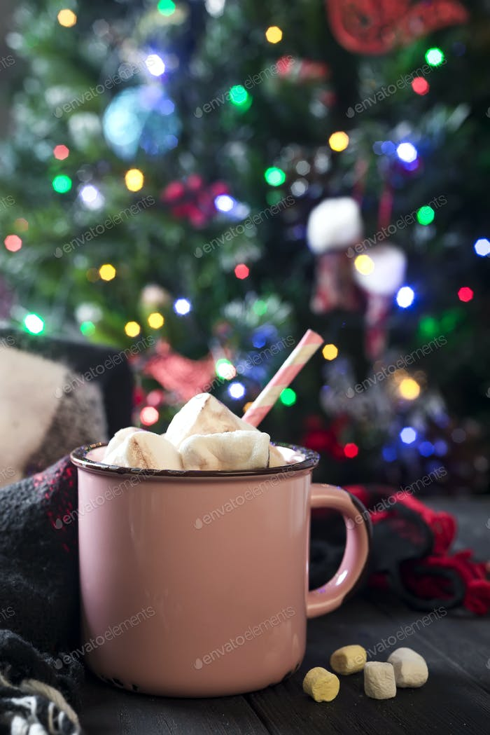 Enamel cup of hot cocoa with marshmallows