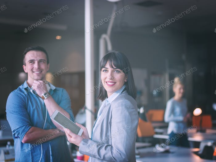 Business People Working With Tablet in office