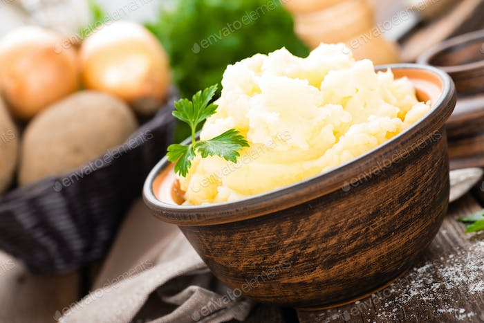 Mashed potato. Potato mash with butter and milk. Boiled potato. Potato puree