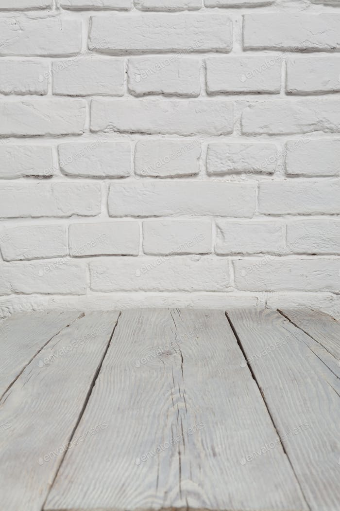 Thumbnail for Old white brick wall and wood floor background