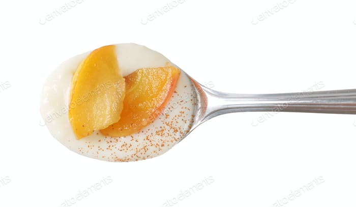 spoon of semolina pudding