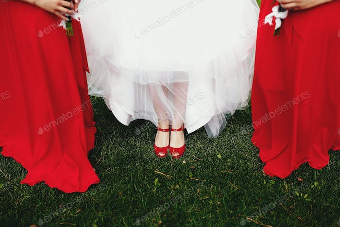 Bride in white dress with bridesmaids in red dresses on green grass