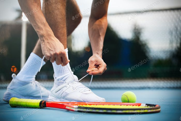Tennis. Player is getting ready for the match. Sport, recreation concept