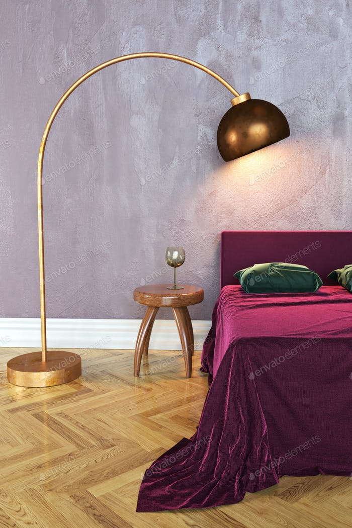 Bedroom scene, 3D rendering