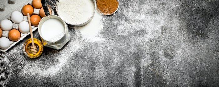 Baking background. Fresh ingredients for baking.