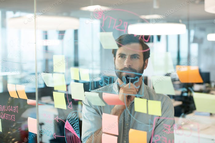 Thoughtful businessman looking at strategy written on glass