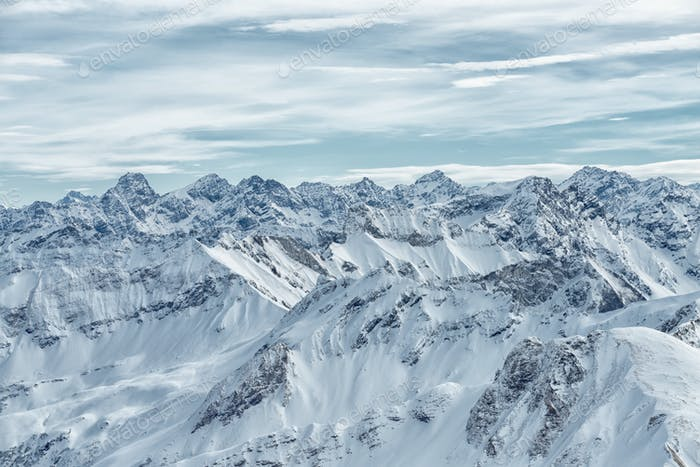view from the Nebelhorn mountain, Bavarian Alps,