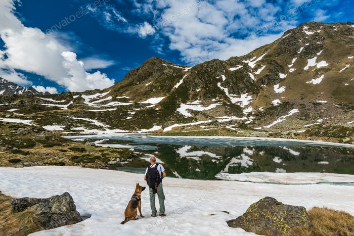 Active hiker on trial with dog in Pyrenees