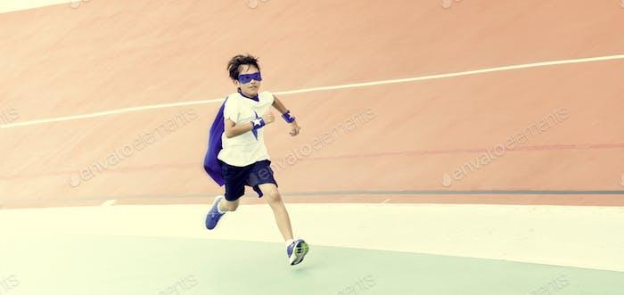 Superhero Boy Brave Running Activity Concept