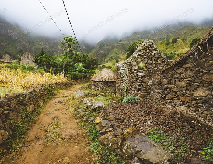 Santo Antao Cape Cabo Verde. Local village on hiking trail via harsh rugged mountains of Ribeira de