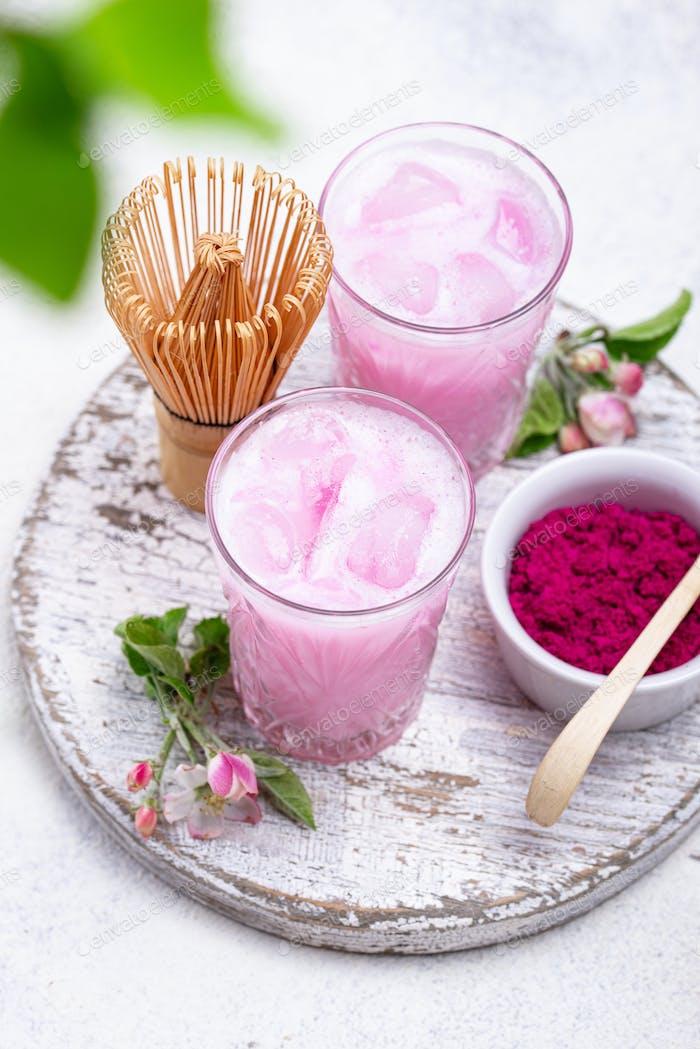 Pink matcha ice latte with milk