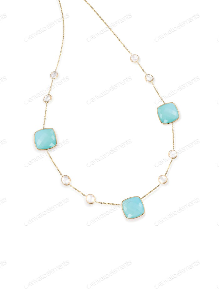 Blue topaz aquamarine diamond necklace with chain