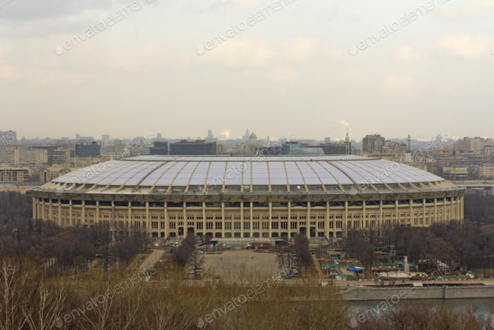 Luzhniki stadium in Moscow, veiw from Vorobyovy Hills viewpoint