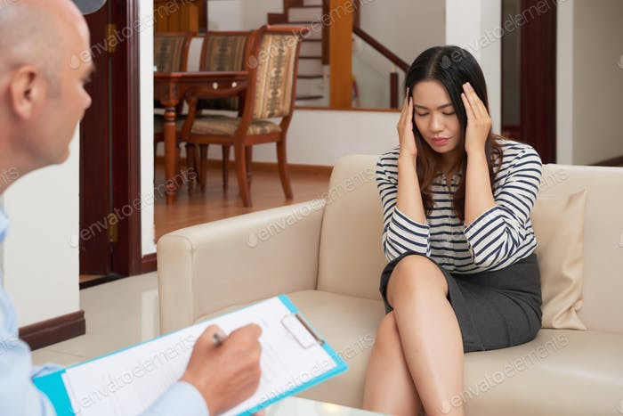 Woman at psychological therapy session