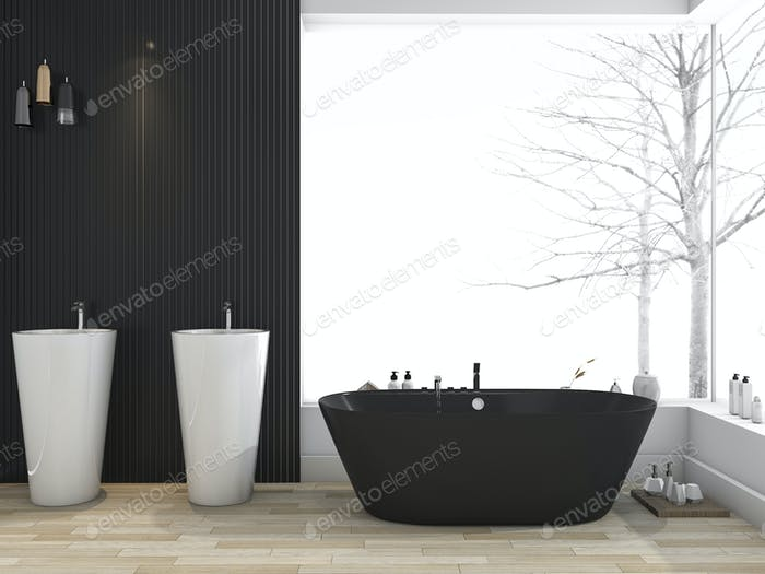 3d rendering black bathtub near window in bathroom