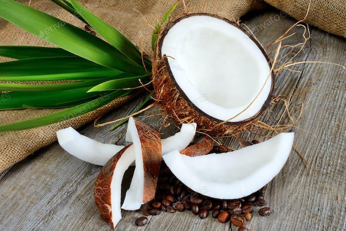 fresh coconut sliced