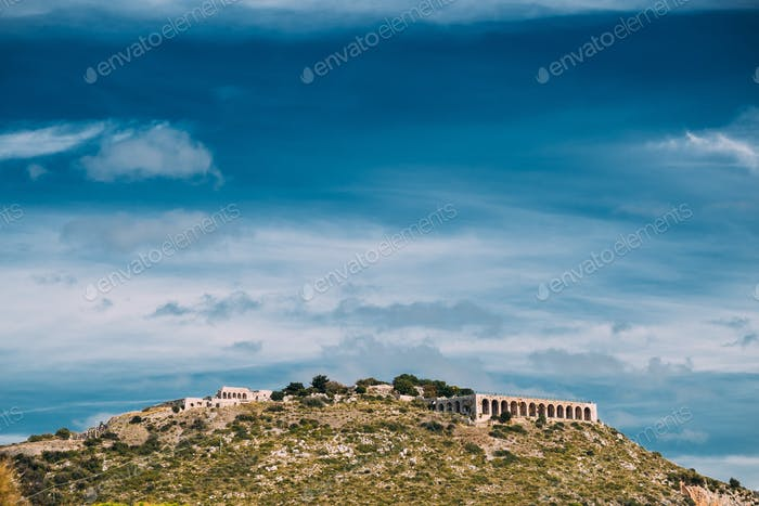 Terracina, Italy. Platform Of Sanctuary And Temple Of Jupiter An