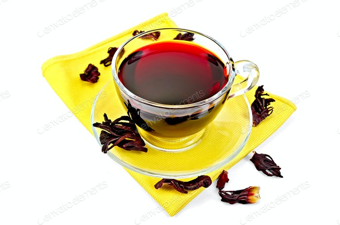 Tea hibiscus on yellow napkin