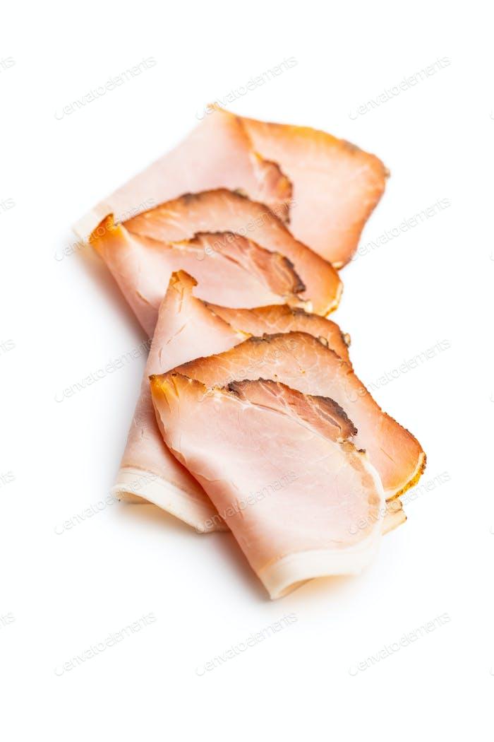 Geschnittener geräucherter Schinken. Leckeres Schweinefleisch.