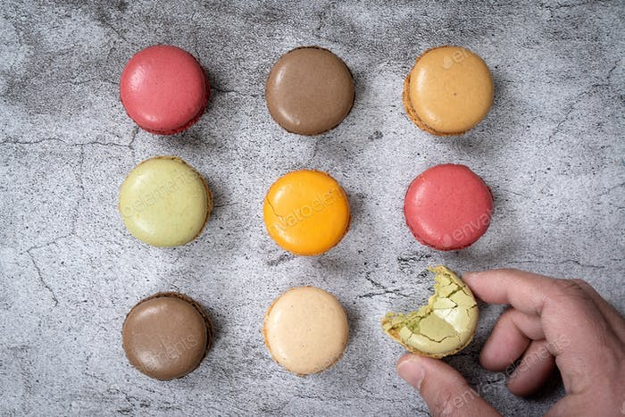 Colorful french dessert macarons