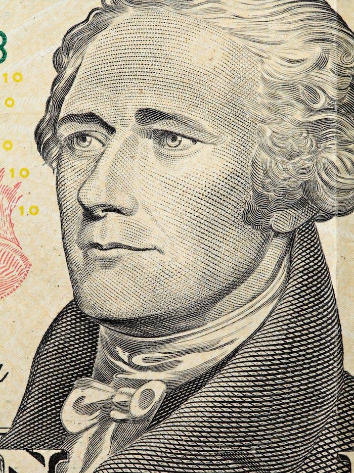Alexander Hamilton on US ten dollars bank note