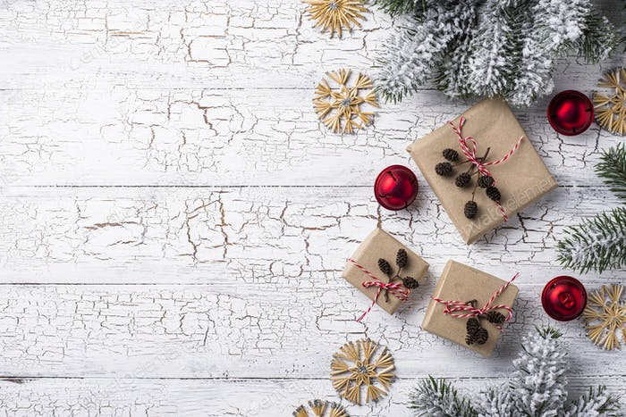 Gift boxes in craft paper
